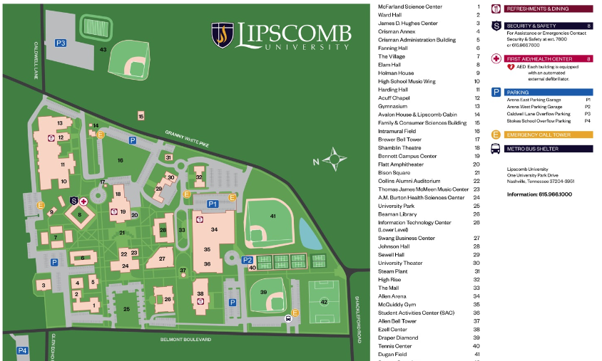 Lipscomb Campus Map World Map 07
